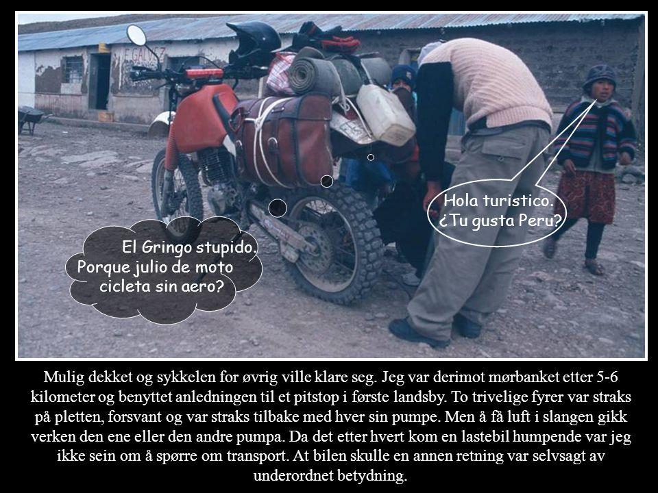 Hola turistico. ¿Tu gusta Peru El Gringo stupido. Porque julio de moto cicleta sin aero