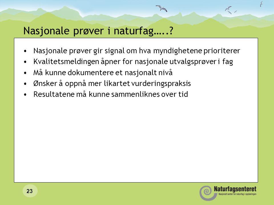 Nasjonale prøver i naturfag…..