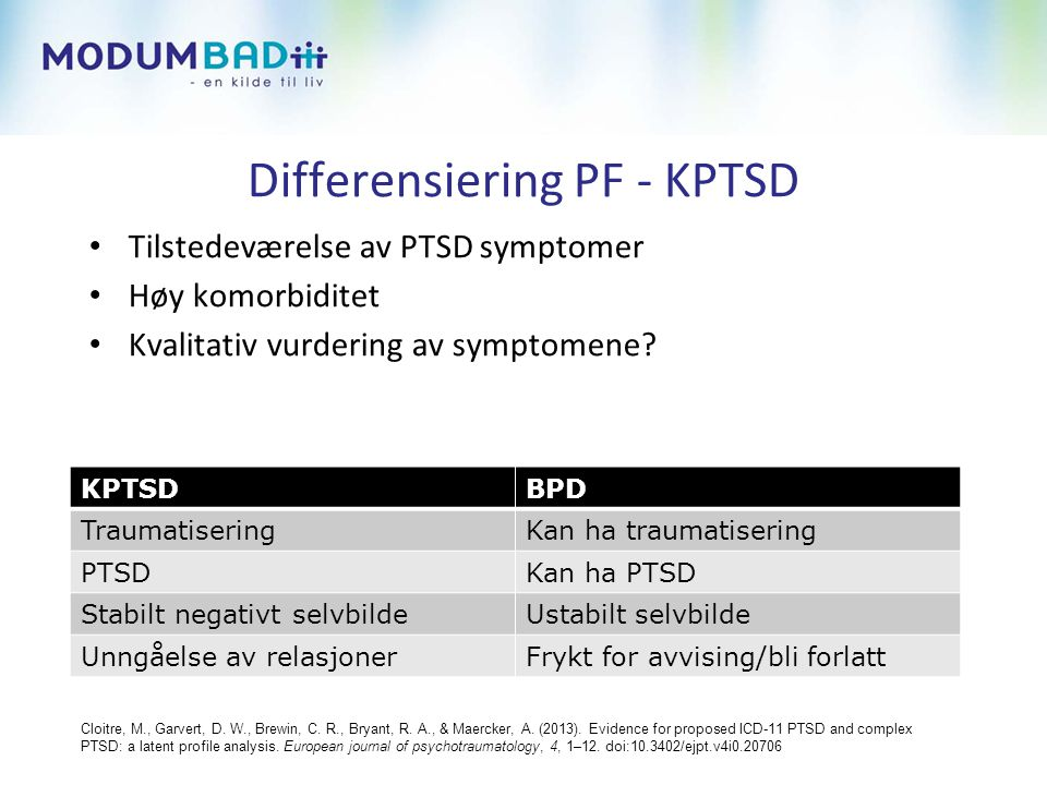Differensiering PF - KPTSD