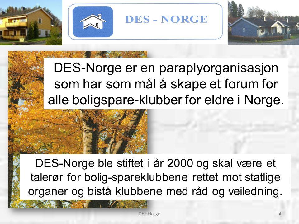 DES-Norge er en paraplyorganisasjon som har som mål å skape et forum for alle boligspare-klubber for eldre i Norge.