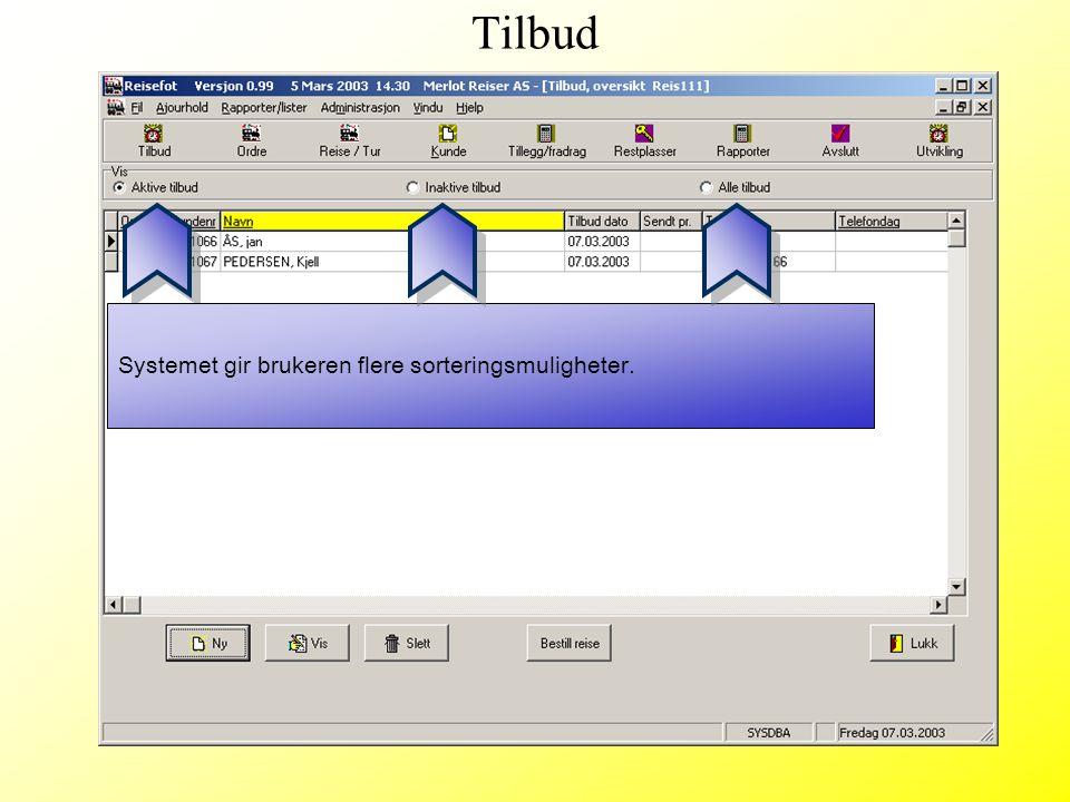 Tilbud Systemet gir brukeren flere sorteringsmuligheter.