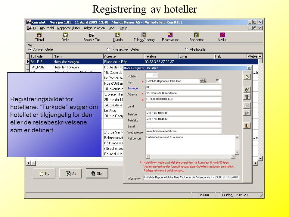 Registrering av hoteller