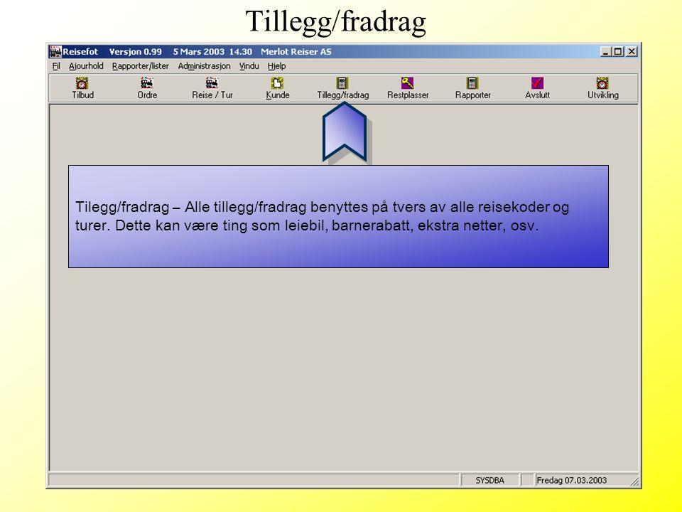 Tillegg/fradrag