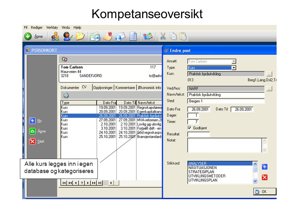 Alle kurs legges inn i egen database og kategoriseres