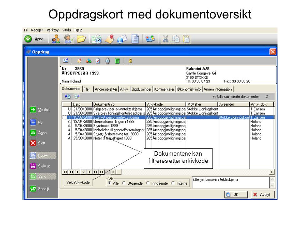 Oppdragskort med dokumentoversikt