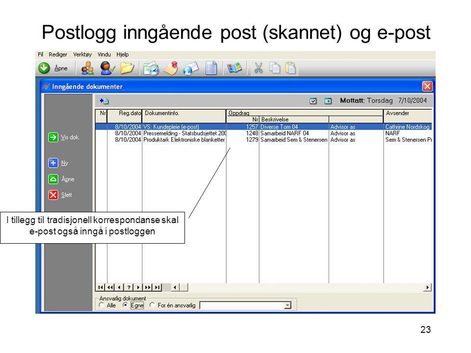 Postlogg inngående post (skannet) og e-post
