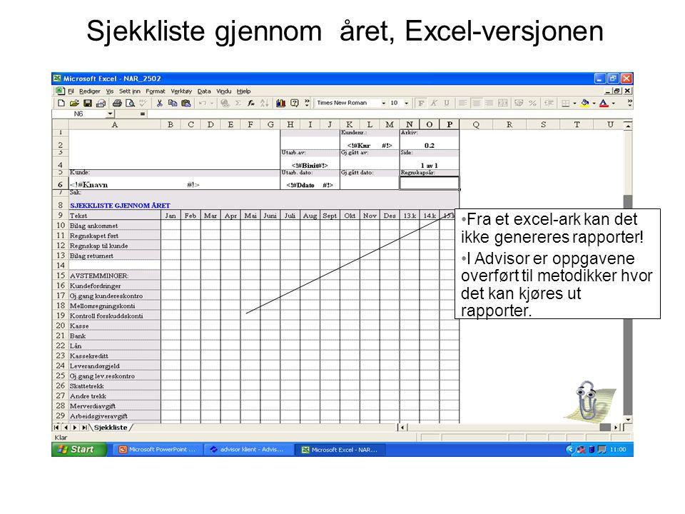 Sjekkliste gjennom året, Excel-versjonen