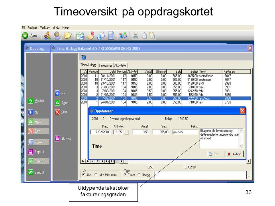 Timeoversikt på oppdragskortet