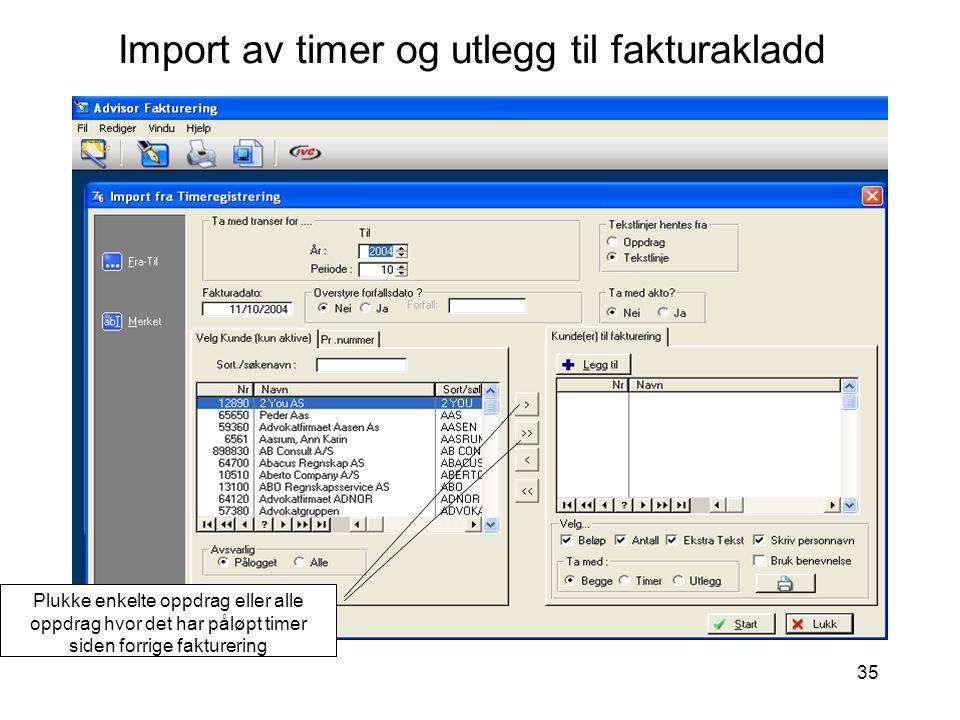 Import av timer og utlegg til fakturakladd