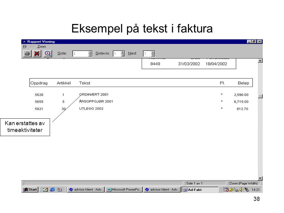 Eksempel på tekst i faktura