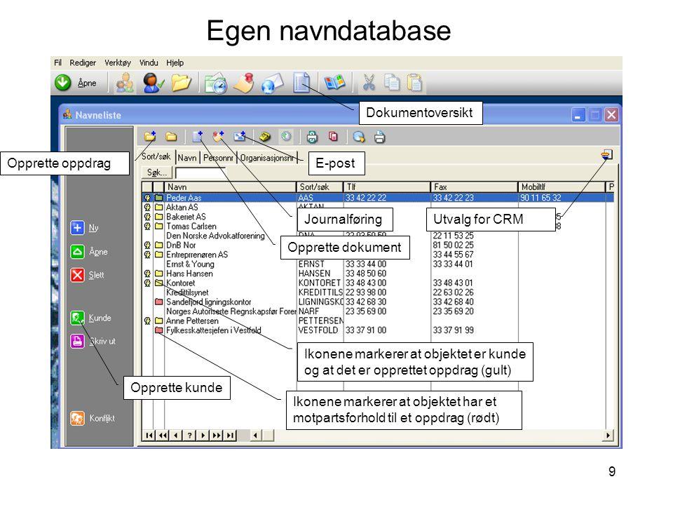 Egen navndatabase Dokumentoversikt Opprette oppdrag E-post