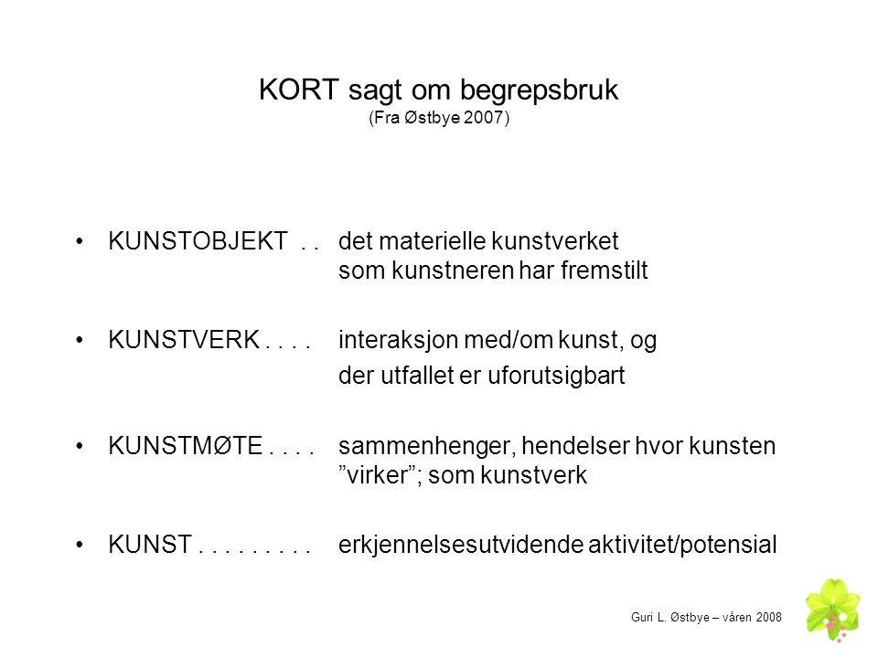 KORT sagt om begrepsbruk (Fra Østbye 2007)