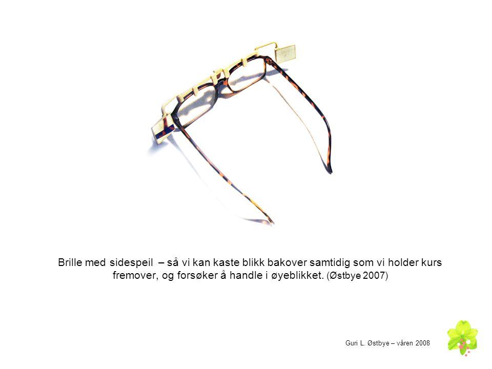 Brille med sidespeil – så vi kan kaste blikk bakover samtidig som vi holder kurs fremover, og forsøker å handle i øyeblikket. (Østbye 2007)