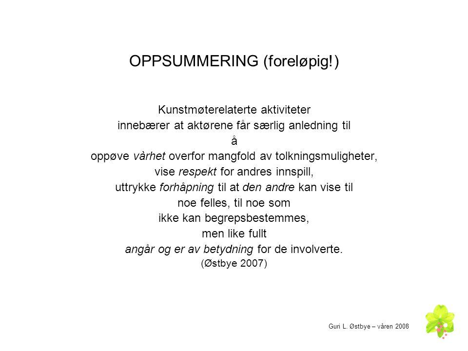 OPPSUMMERING (foreløpig!)
