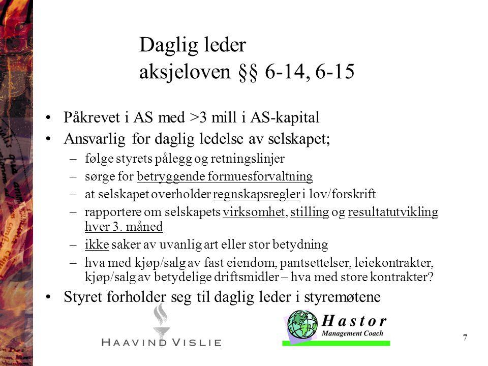 Daglig leder aksjeloven §§ 6-14, 6-15