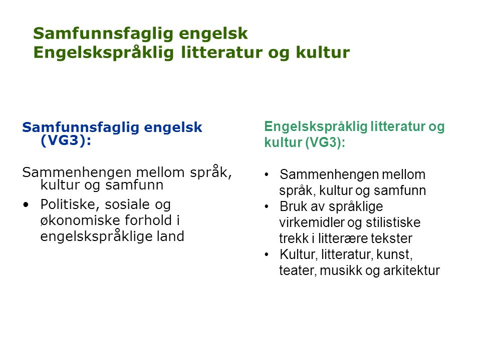 Samfunnsfaglig engelsk Engelskspråklig litteratur og kultur