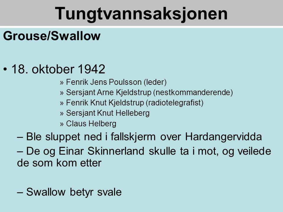Tungtvannsaksjonen Grouse/Swallow 18. oktober 1942