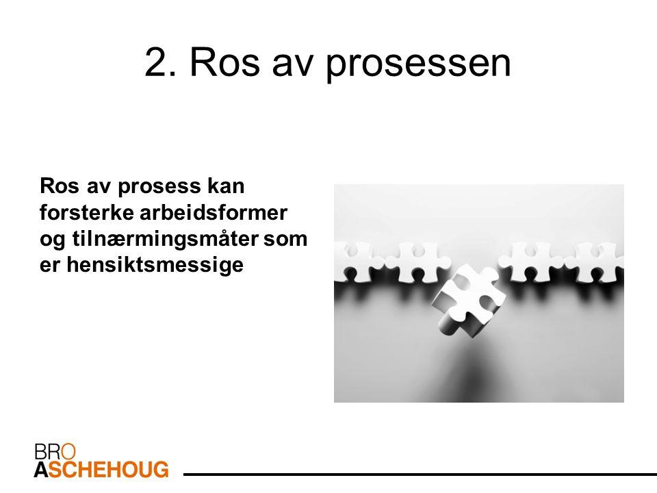 2. Ros av prosessen Ros av prosess kan forsterke arbeidsformer og tilnærmingsmåter som er hensiktsmessige.