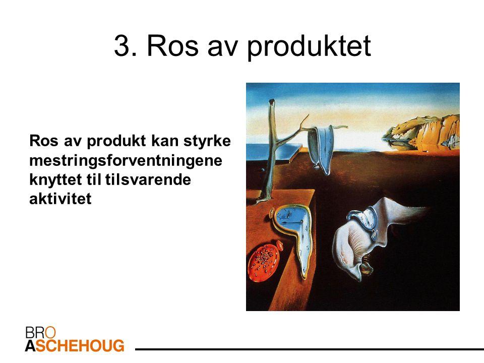 3. Ros av produktet Ros av produkt kan styrke mestringsforventningene knyttet til tilsvarende aktivitet.