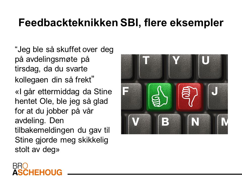 Feedbackteknikken SBI, flere eksempler