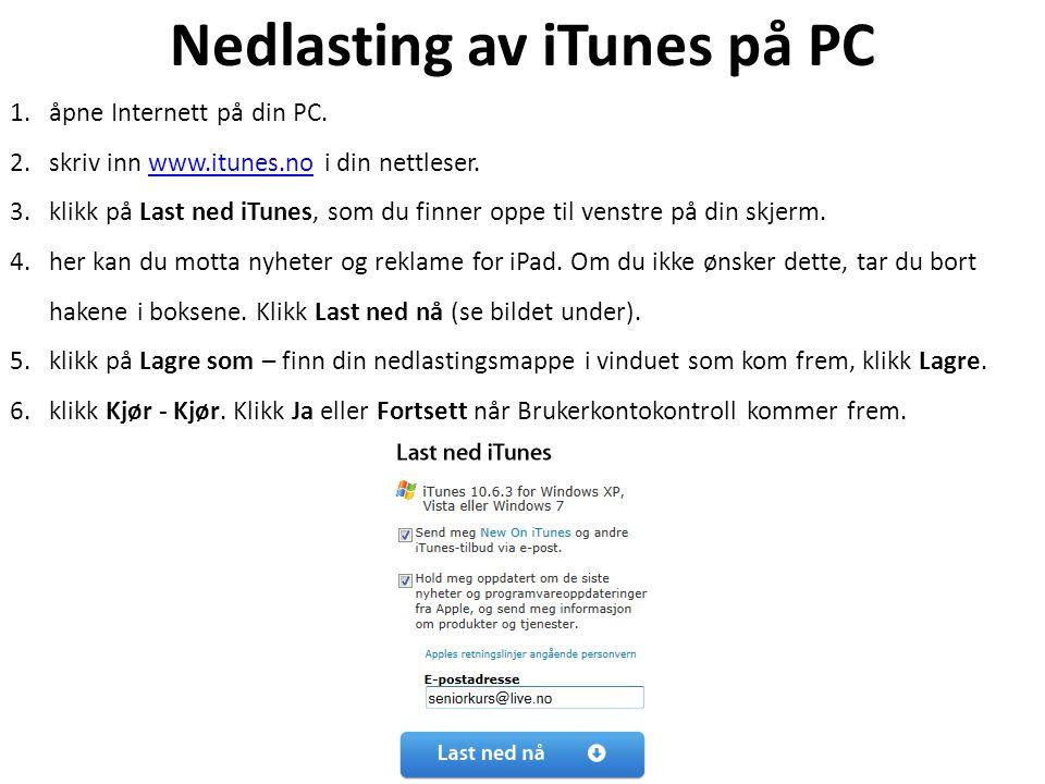 Nedlasting av iTunes på PC