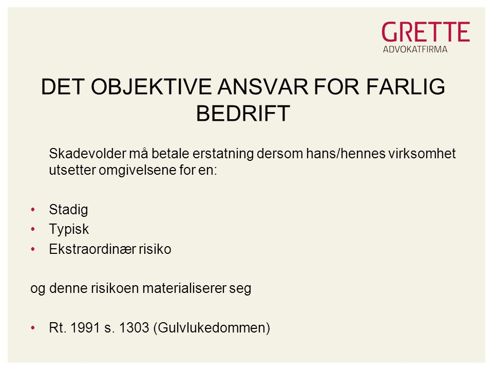 DET OBJEKTIVE ANSVAR FOR FARLIG BEDRIFT