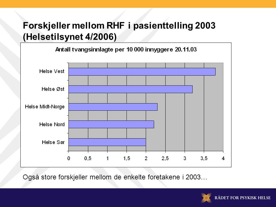 Forskjeller mellom RHF i pasienttelling 2003 (Helsetilsynet 4/2006)