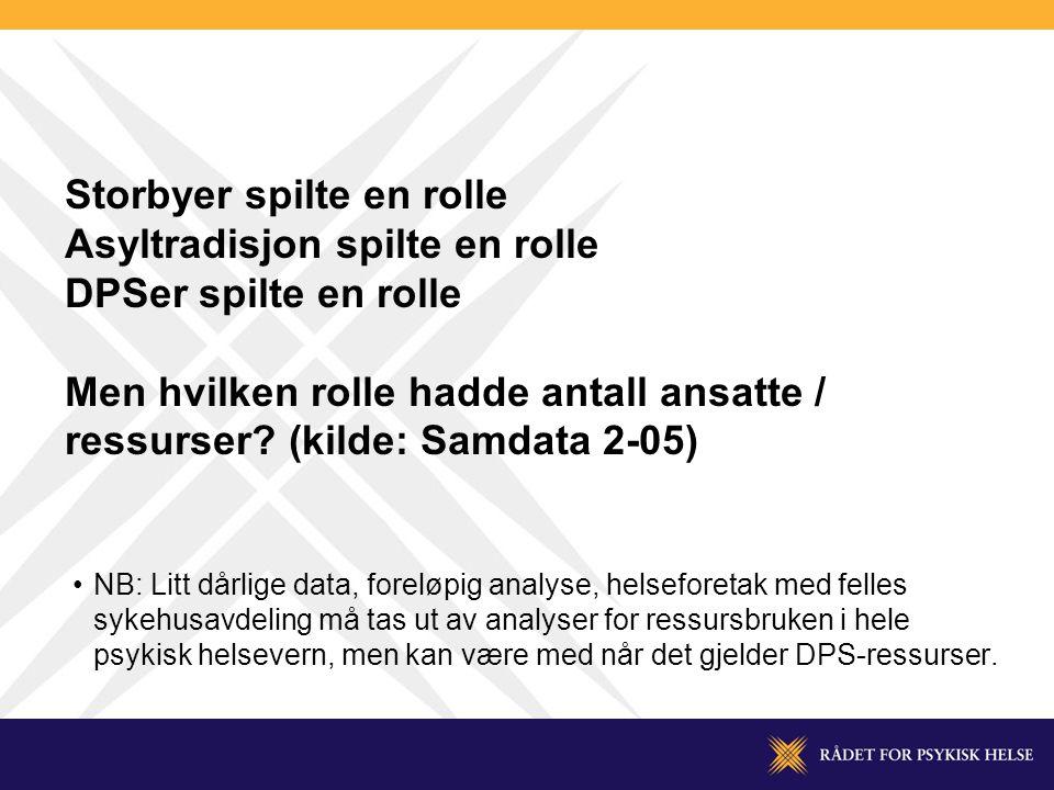 Storbyer spilte en rolle Asyltradisjon spilte en rolle DPSer spilte en rolle Men hvilken rolle hadde antall ansatte / ressurser (kilde: Samdata 2-05)