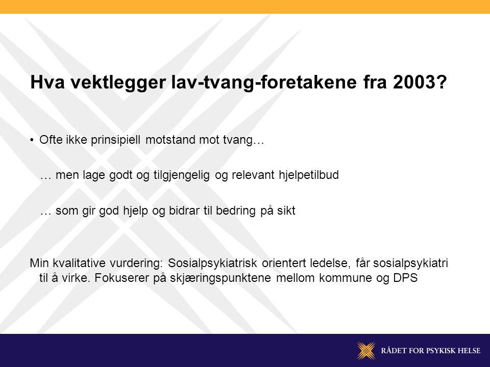 Hva vektlegger lav-tvang-foretakene fra 2003