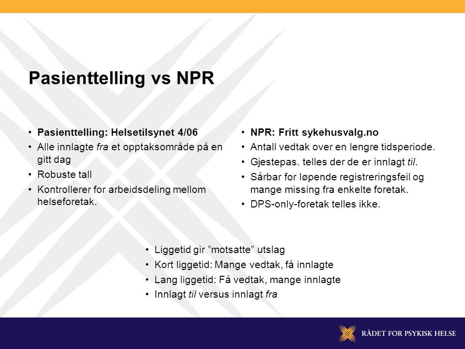 Pasienttelling vs NPR Pasienttelling: Helsetilsynet 4/06