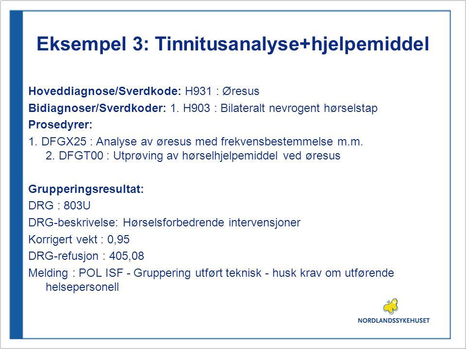 Eksempel 3: Tinnitusanalyse+hjelpemiddel