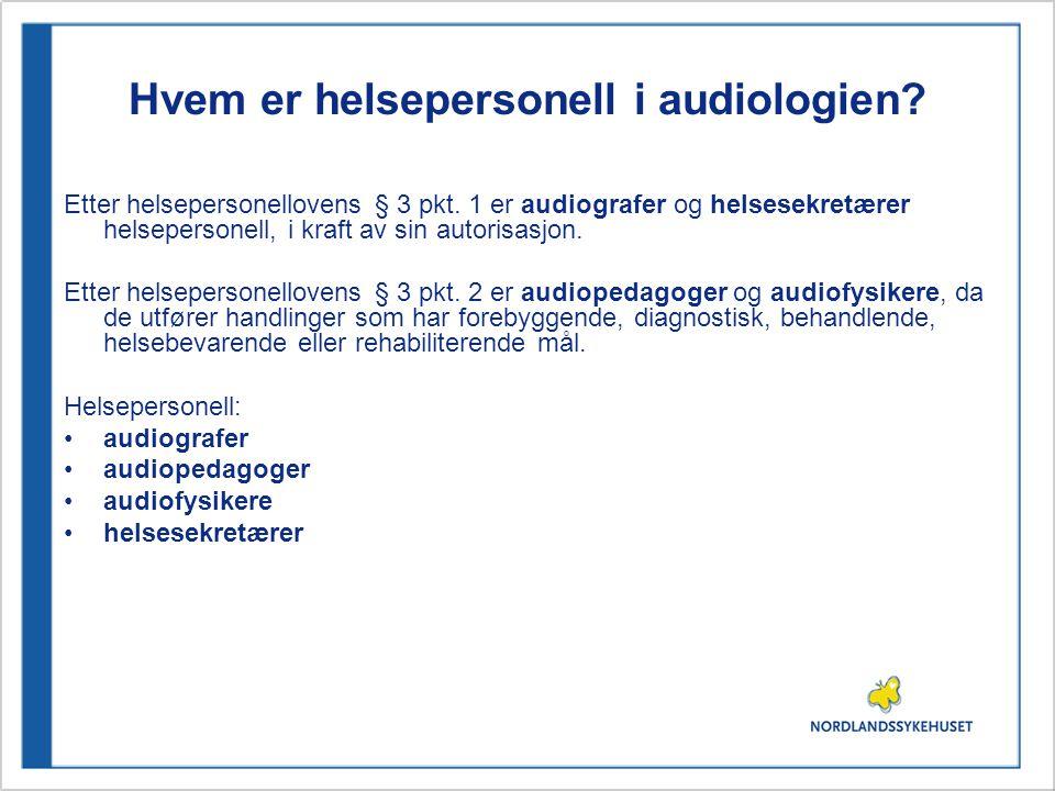 Hvem er helsepersonell i audiologien