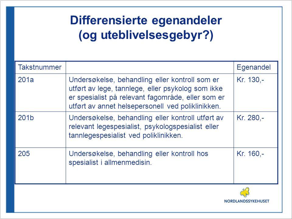 Differensierte egenandeler (og uteblivelsesgebyr )