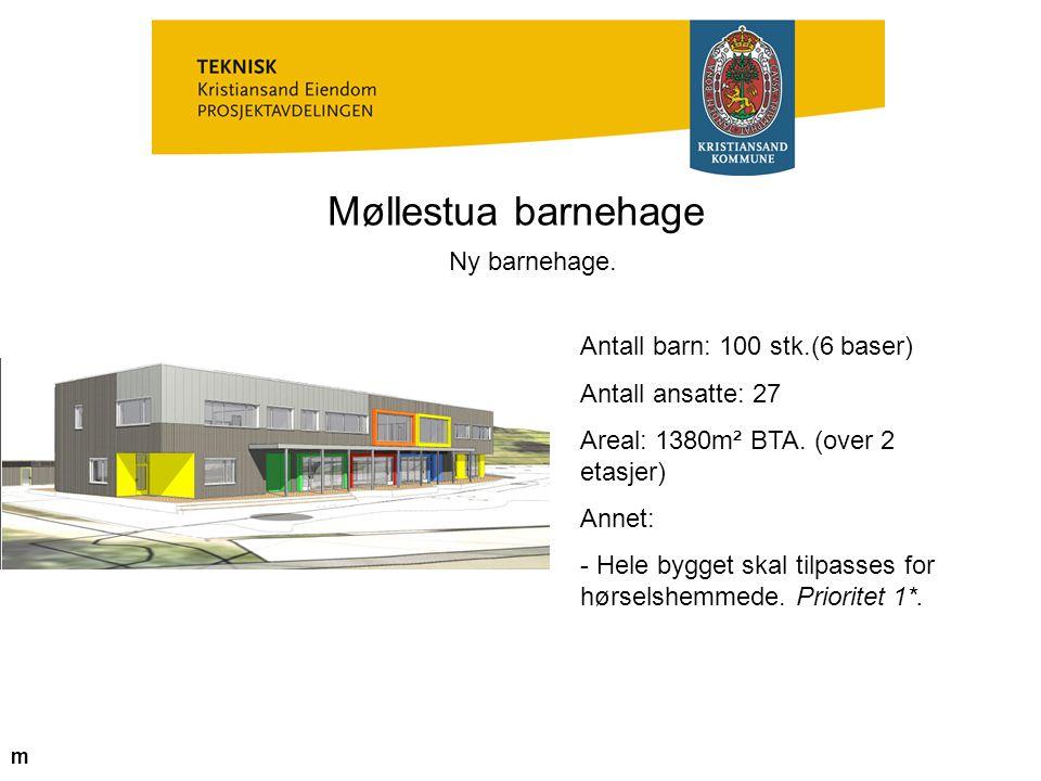 Møllestua barnehage Ny barnehage. Antall barn: 100 stk.(6 baser)