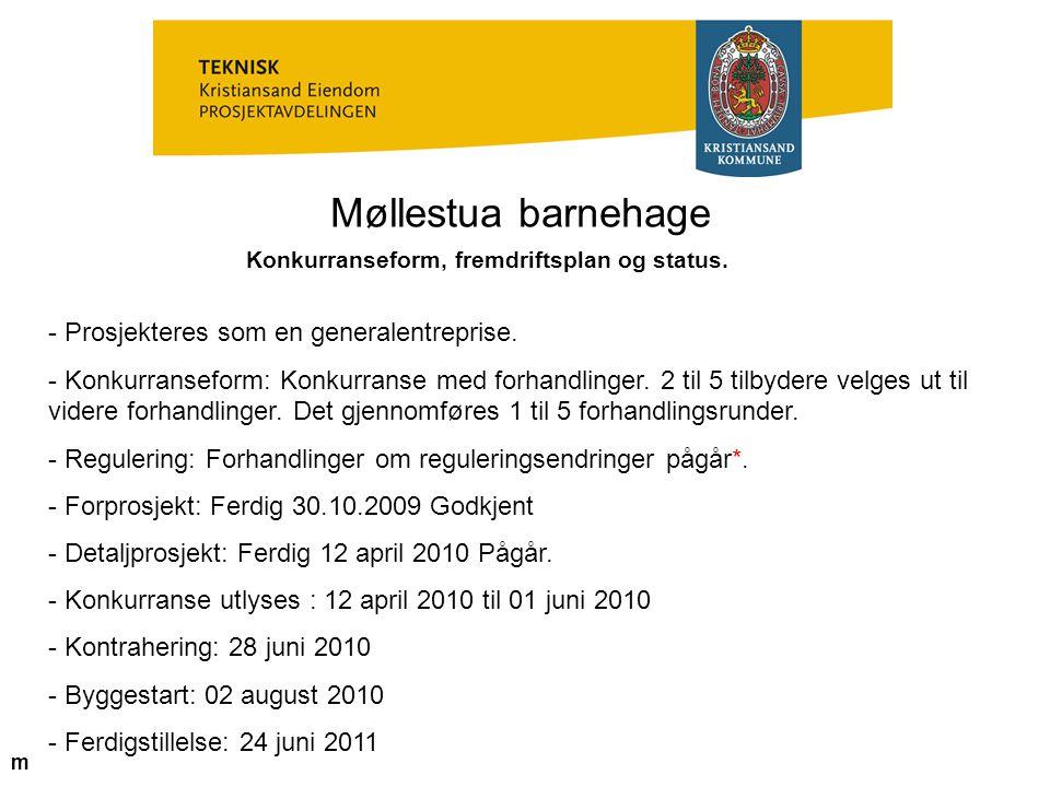 Konkurranseform, fremdriftsplan og status.