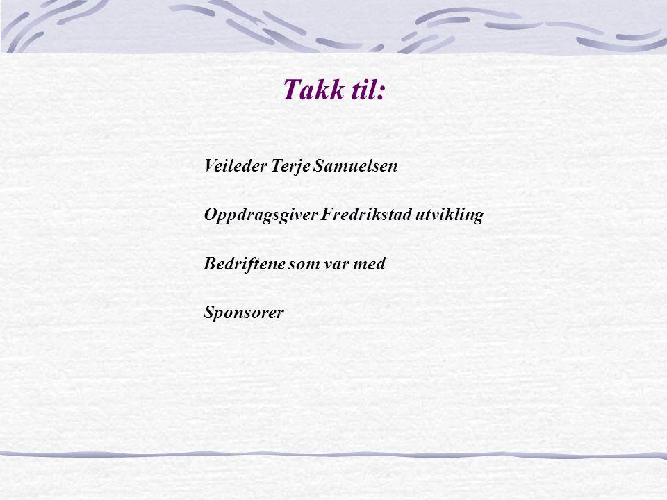 Takk til: Veileder Terje Samuelsen Oppdragsgiver Fredrikstad utvikling
