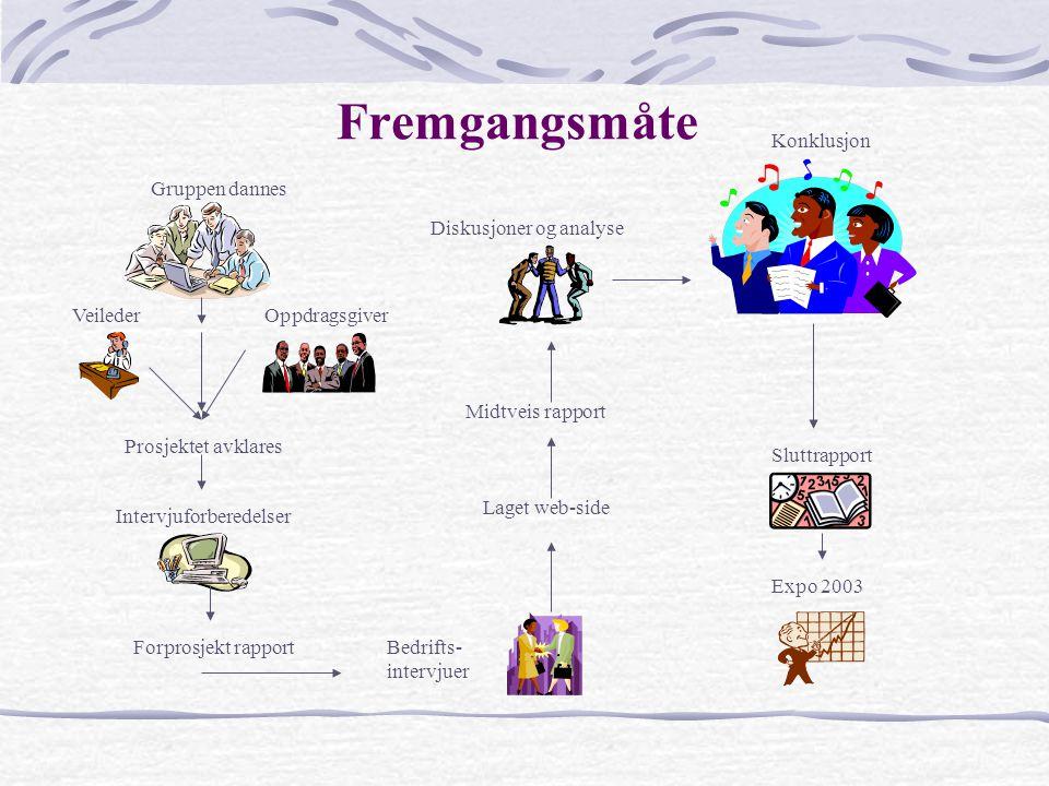 Fremgangsmåte Konklusjon Gruppen dannes Diskusjoner og analyse