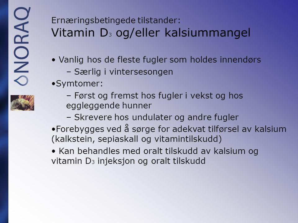 Ernæringsbetingede tilstander: Vitamin D3 og/eller kalsiummangel