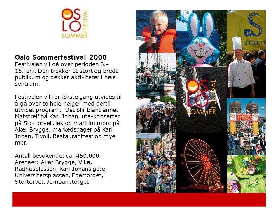 Oslo Sommerfestival 2008 Festivalen vil gå over perioden 6.–15.juni. Den trekker et stort og bredt publikum og dekker aktiviteter i hele sentrum.