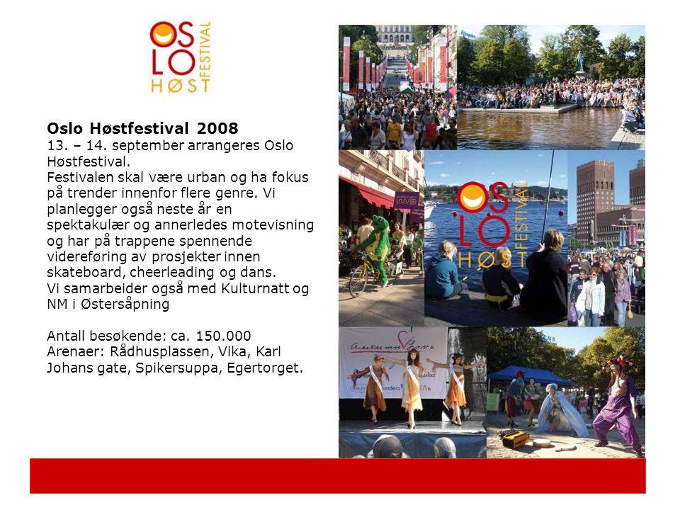 Oslo Høstfestival 2008 13. – 14. september arrangeres Oslo Høstfestival.