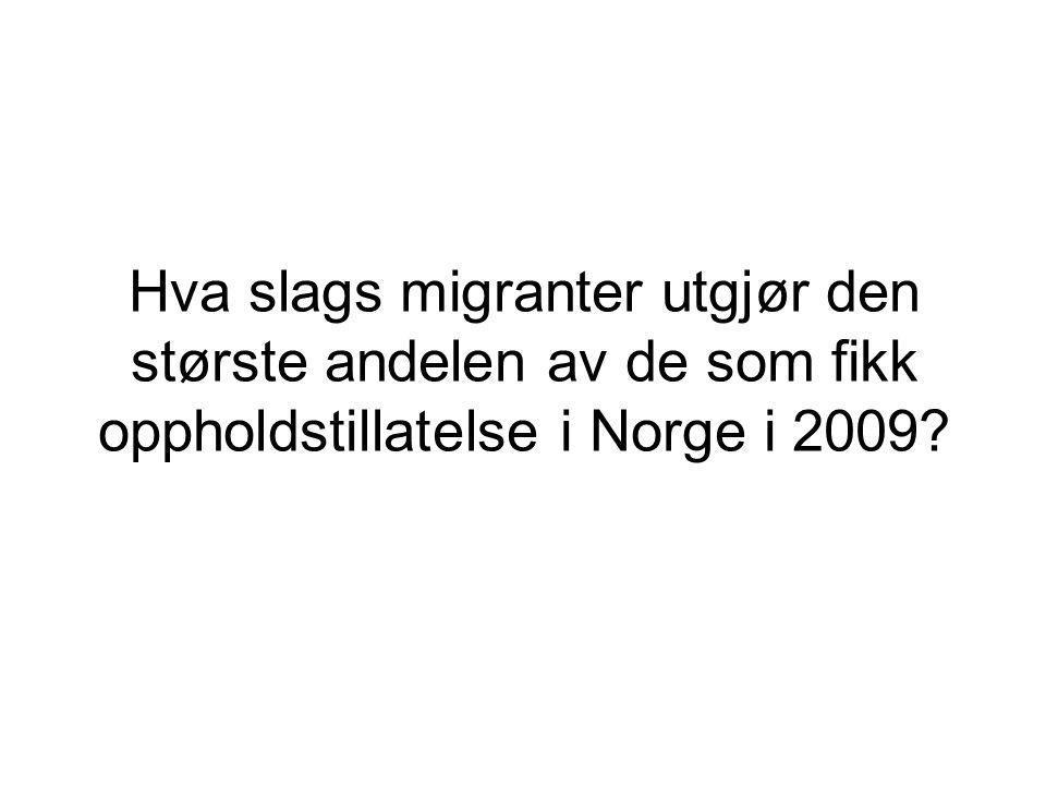 Hva slags migranter utgjør den største andelen av de som fikk oppholdstillatelse i Norge i 2009