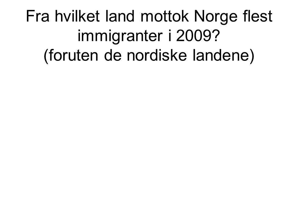 Fra hvilket land mottok Norge flest immigranter i 2009