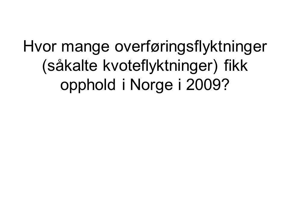 Hvor mange overføringsflyktninger (såkalte kvoteflyktninger) fikk opphold i Norge i 2009