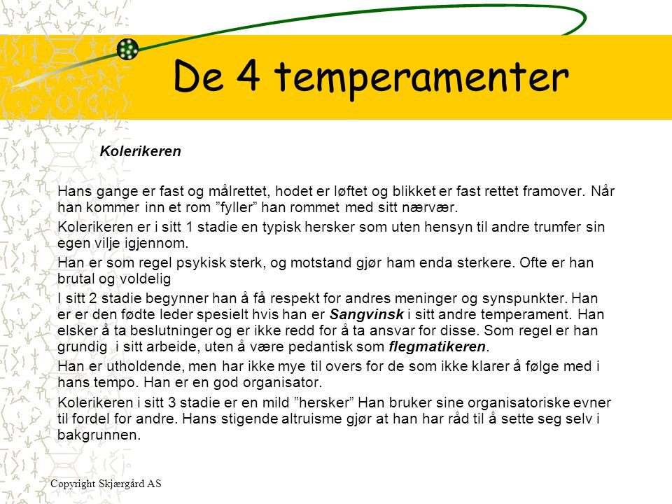 De 4 temperamenter Kolerikeren