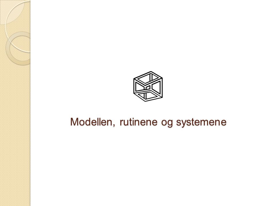 Modellen, rutinene og systemene