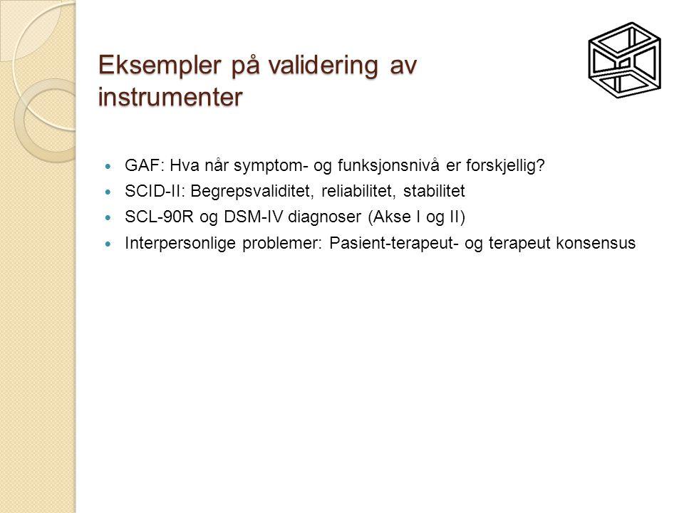 Eksempler på validering av instrumenter