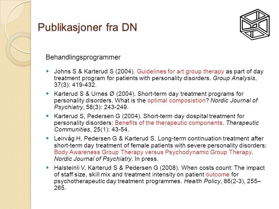 Publikasjoner fra DN Behandlingsprogrammer