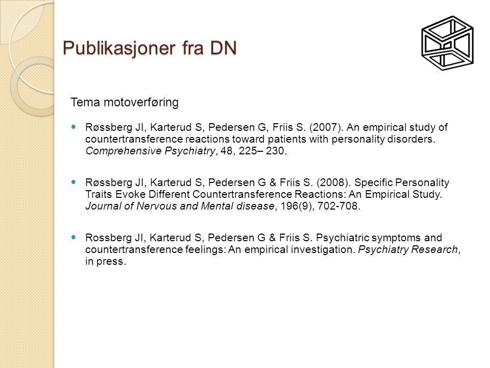 Publikasjoner fra DN Tema motoverføring