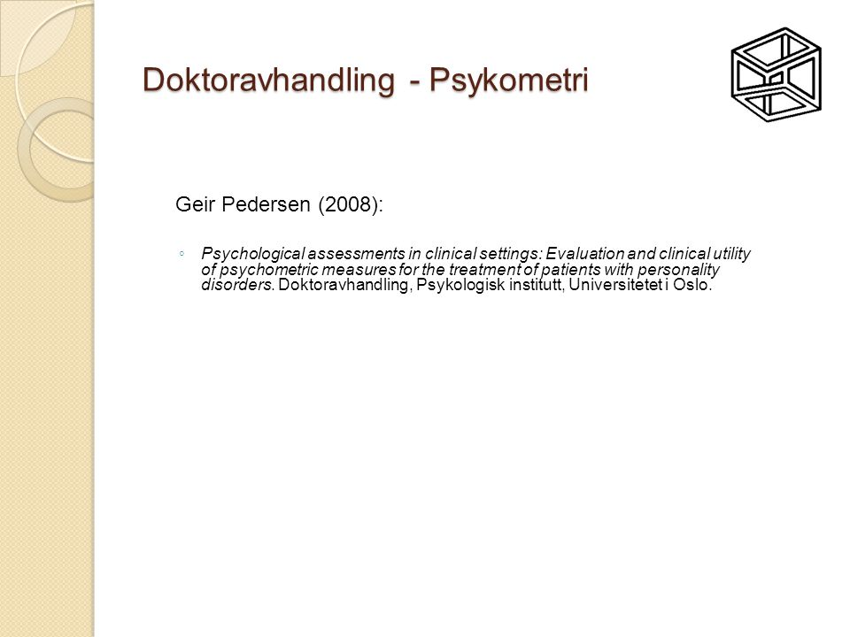 Doktoravhandling - Psykometri