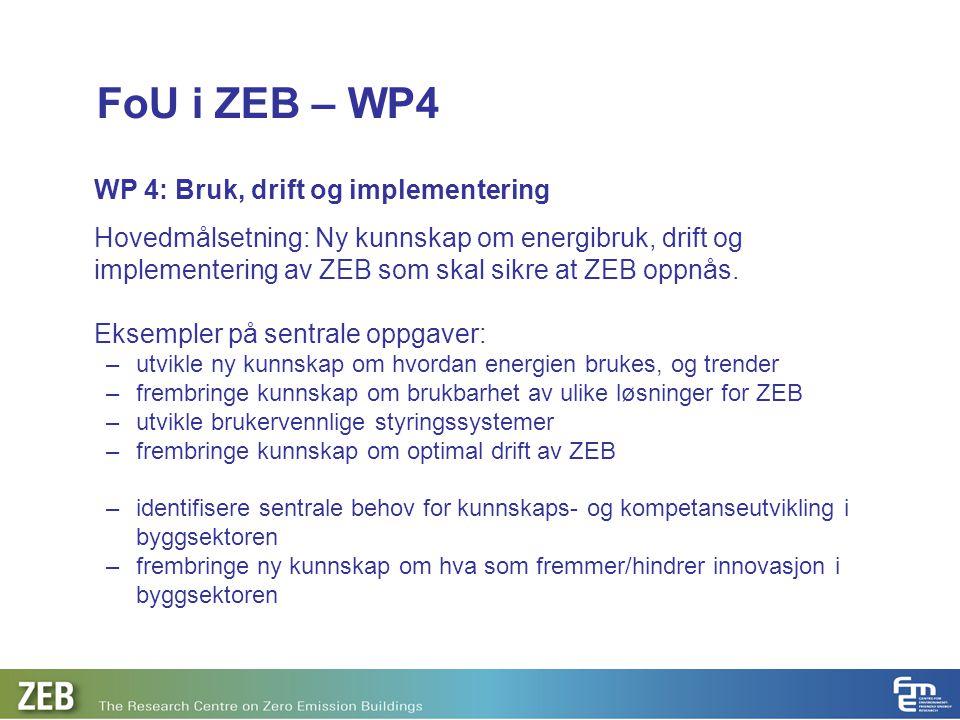 FoU i ZEB – WP4 WP 4: Bruk, drift og implementering